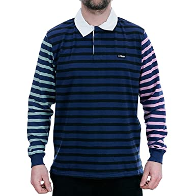 cd64d4c047 Stussy Jonah Stripe Long Sleeved Rugby Shirt Navy Medium: Amazon.co.uk:  Clothing