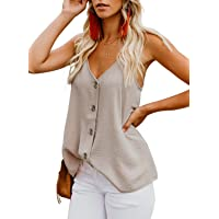Ancapelion Women's V Neck Button Down Sleeveless Summer Tank Tops Casual Shirts Blouses
