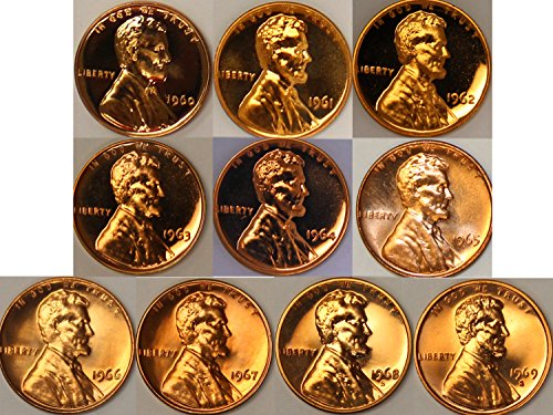1960 Lincoln Cent (1960-1969 S Lincoln Cent Gem Proof Run 10 Coin Lot U.S. Mint)