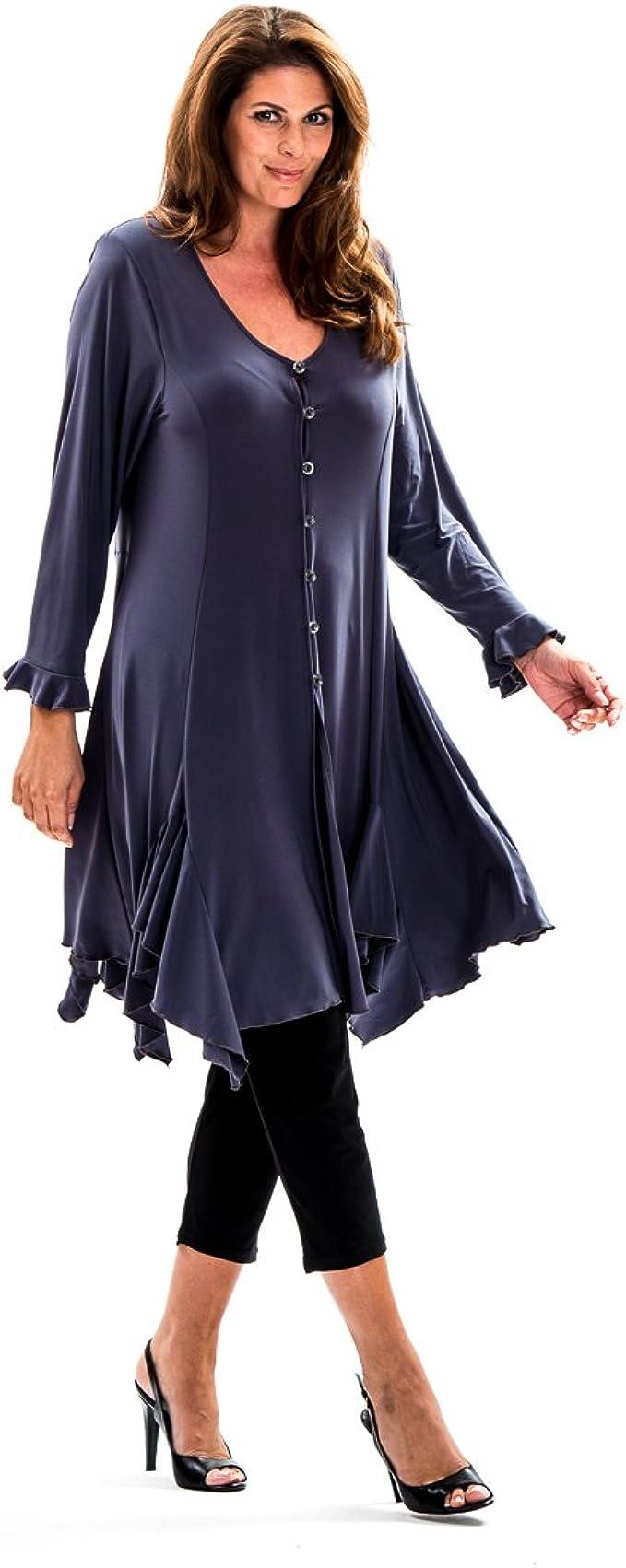 NEU Übergröße schickes Damen Stretch Long Zipfel Shirt 3//4 Arm lila Gr.56,60