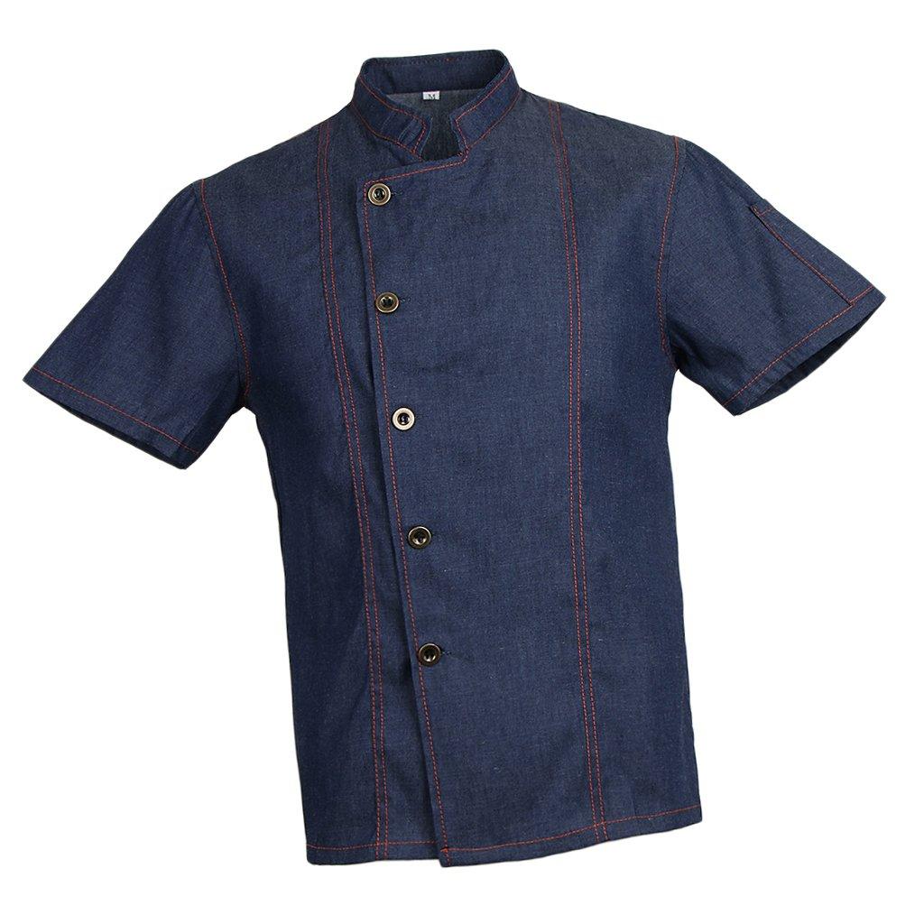 Baoblaze Women Men's Chef Jacket Summer Hotel Restaurant Kitchen Uniform White/Black/Denim Blue - Blue XL, as Described