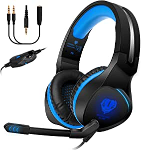 Anksono Stereo Gaming Headset for PS4, Xbox One, Nintendo Switch, 3.5mm Wired Bass Noise Cancelling Over-Ear Headphones with Mic, LED Lights and Volume Control for Laptop PC Mac iPad Games, Blue