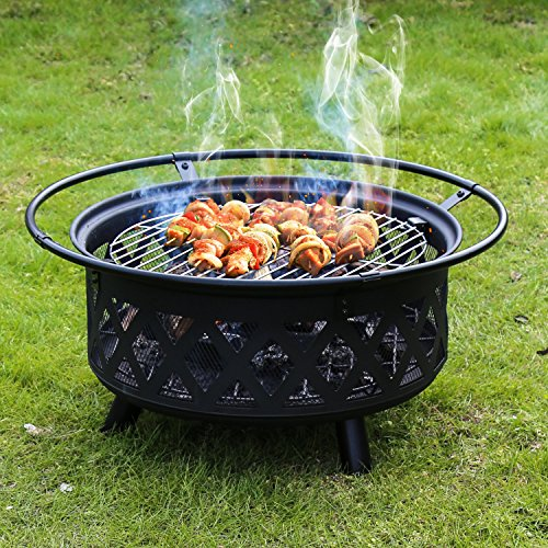 Portable Folding Fire Pit (Kinbor 30-Inch Portable Folding Wood Burning Openwork Backyard Patio Garden Fire Pit with Cooking Grill, Spark Screen and Free Waterproof PVC Cover)