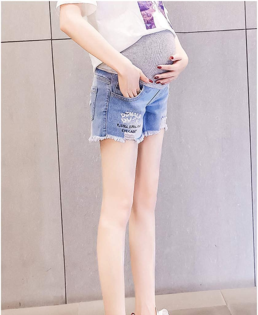 pitashe Damen Umstandsmode Lose Loch Jeansshorts Umstandsjeans Straight Umstandsleggings Stretch Schwangere Jeanshose Wild Maternity Weich Umstandshose Slim Fit Jeans Leggings Mode Einzigartig Hose