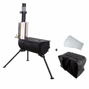 NJ Cocina Portátil de Madera para Quemar Camping + Calentador de Agua de 3 litros
