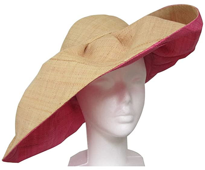 2fdb47b9f4d4a Extra Large Pink and Straw Women s Sun Hat from Madagascar