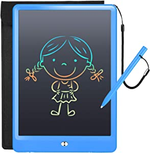 LCD Writing Tablet with Sleeve Case, ERUW 10 Inch Electronic Graphics Drawing Pads, Drawing Board eWriter, Digital Handwriting Doodle Pad with Memory Lock for Kids Home School Office,Dark Blue