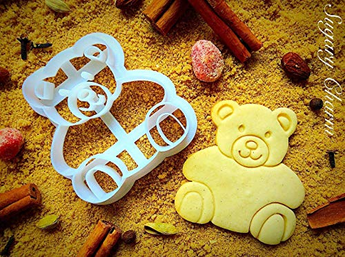 Teddy Bear Cookie Cutter - Small Present for Valentines Day, 1st Happy Birthday and Housewarming - Unique Shaped Cookie Cutters for Baby Shower - Handmade Cute Mini Kids Cutters by Sugary Charm ()