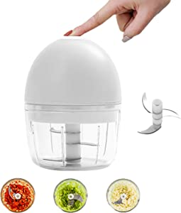 Electric Mini Chopper,Fohuas High Power Small Food Slicer Dicer Processor 200ml 1 Cup,Seasoning Spice Cutter Blender For Garlic/chili/Fruits/Pesto/Vegetables/Onions/Pepper/Ginger/Salad(White)