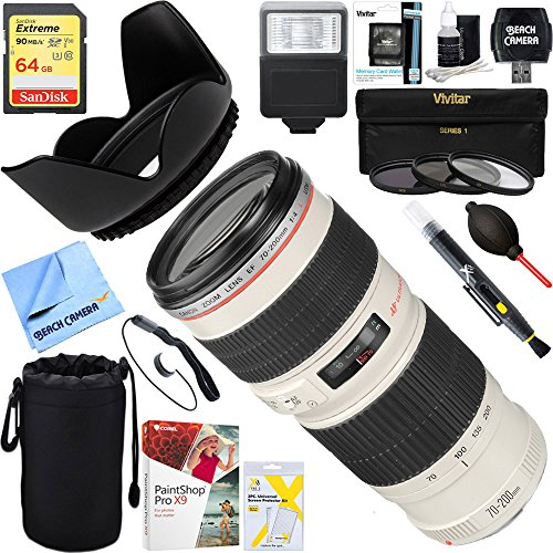 Canon EF 70-200mm F/4.0 L USM Lens + 64GB Ultimate Filter & Flash Photography (Canon Extender Set)