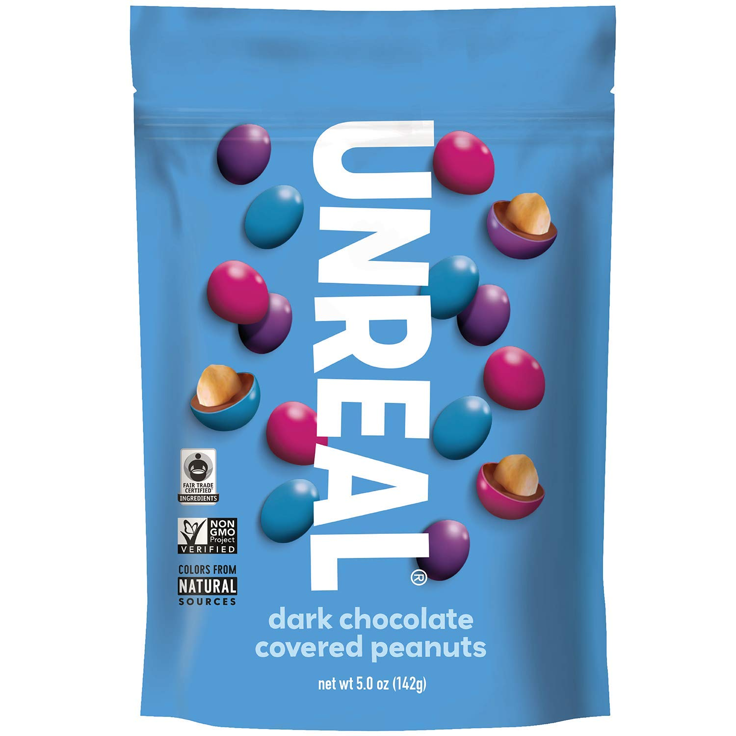 UNREAL Dark Chocolate Peanut Gems | Non-GMO, Vegan Certified, Colors from Nature | 6 Bags by UNREAL
