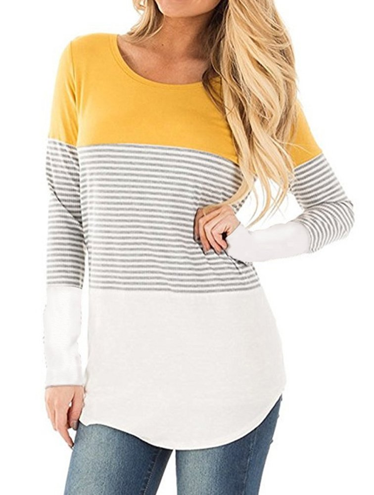 Glomeen Women's Fashion Tops Round Neck Color Block Stripe T-Shirt Casual Blouse