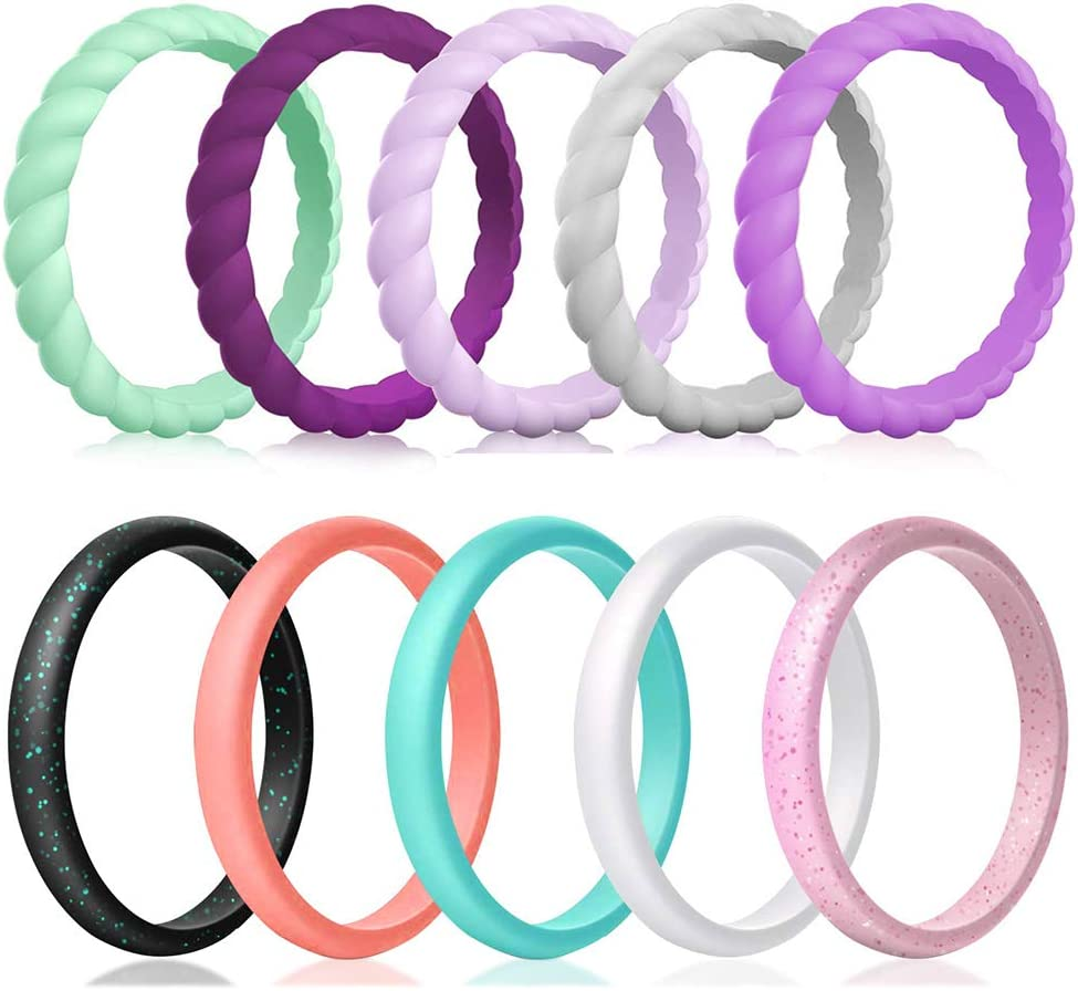 Qinaoco Silicone Wedding Ring for Women,10-Packs Thin and Stackable Braided Rubber Wedding Bands,Affordable,Fashion,Colorful,Comfortable fit,Skin Safe