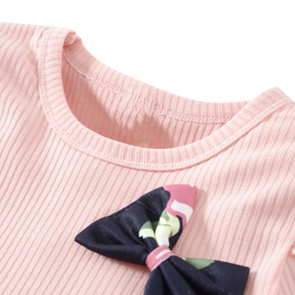 Miyanuby Neonata Vestito Bambina Abiti Girocollo Flower Bowknot Princess Bambina Vestito Abiti da Festa Baby Girl Dress 1-4 Anni