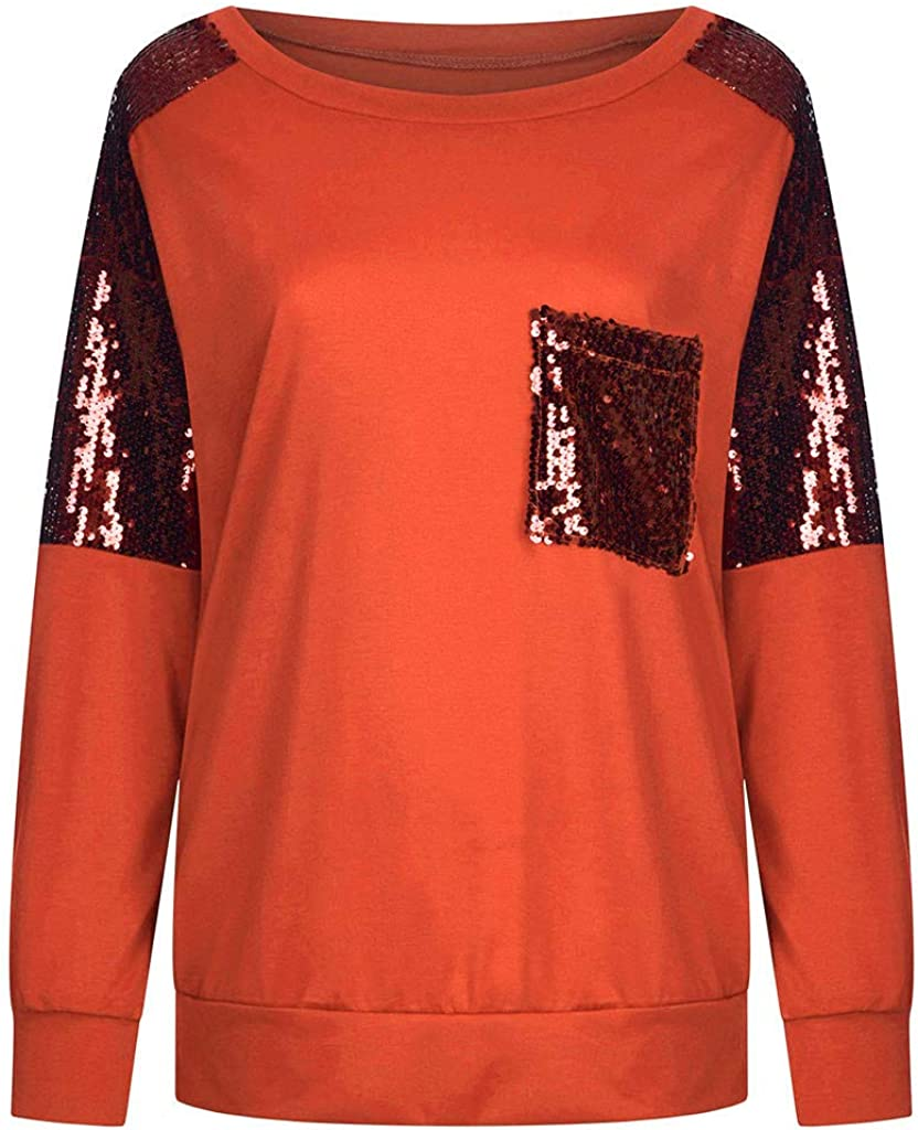 Pervobs Womens Casual Long Sleeve Panel Sequins O-Neck Blouse Tops Pullover Baggy Comfy Tunic