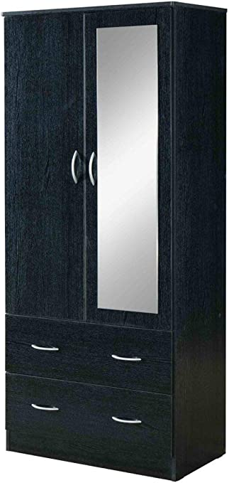 Amazon Com Hodedah 2 Door 2 Drawers Mirror And Clothing Rod In Black Armoire Furniture Decor