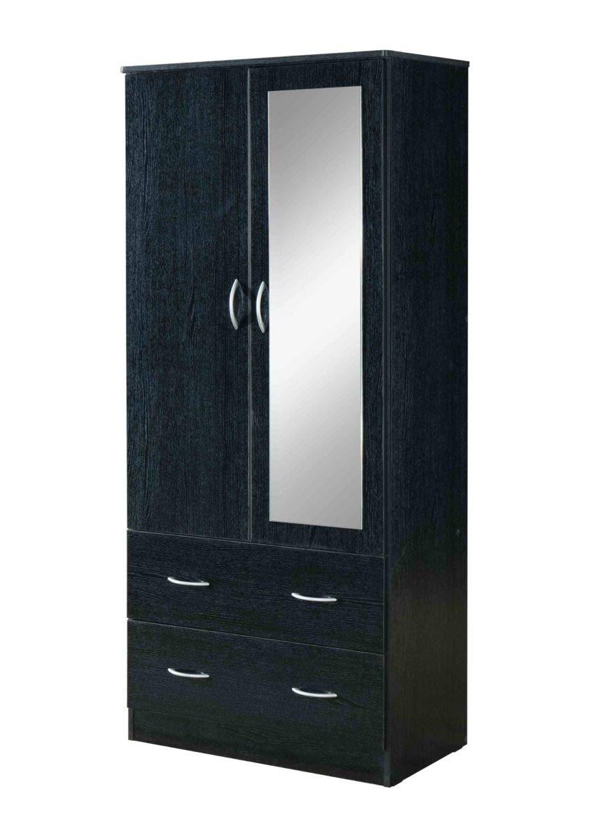 Hodedah HI882 Door 2-Drawers, Mirror and Clothing Rod in Black Armoire by Hodedah