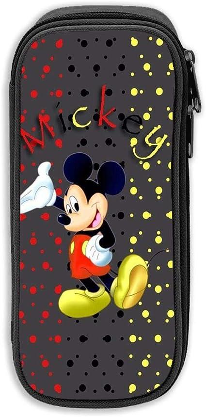Estuche para lápices de Mickey Mouse y Minnie Mouse, Bolso de lona, Bolso portátil para estudiantes de oficina con cremalleras para niños, niñas y adultos