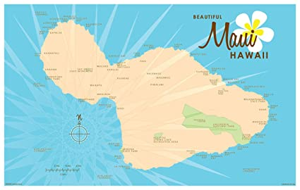 graphic about Maui Map Printable identify : Maui Blue Map Traditional-Structure Artwork Print via