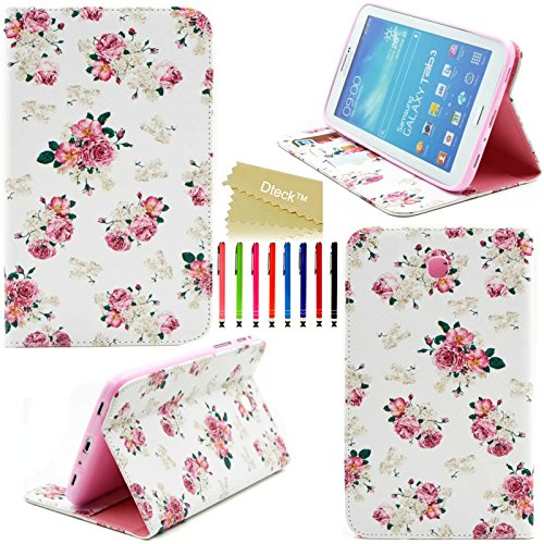 Galaxy Tab 3 7.0 Case, P3200 P3210 T210 T211 Case, Dteck(TM) Cute Cartoon Flip Stand Case with Card Slots Protective Synthetic Leather Cover for Samsung Galaxy Tab 3 7.0(Holy Flower)
