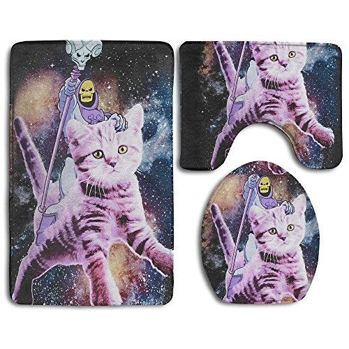 MERCURY Microfiber Bathroom Contour Rugs Combo 3D Pattern Skeleton And Kitty Spaceship 3-Piece Sets Toilet Mat Non Slip Shower Floor Rugs Pedestal Rug + Lid Toilet Cover + Bath Mat Mercury Hand Woven Rug