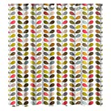 Custom Orla Kiely Colorful Leaf Waterproof Bathroom Shower Curtain Polyester Fabric Shower Curtain Size 66 X 72
