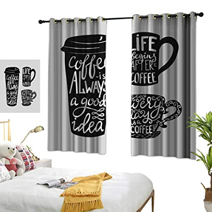 Amazon.com: Lightly Kitchen Curtains Coffee,Quotes About ...