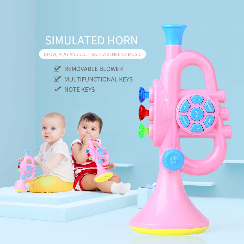 PKBQUEEN Kids Trumpet Music Horn Musical Wind Instrument Preschool Learning Toy with Light Sound for Baby Toddler Girl Boy Pink