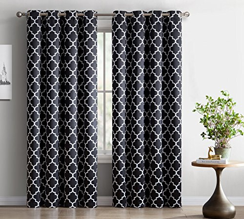 HLC.ME Lattice Print Thermal Insulated Blackout Room Darkening Window Curtains for Bedroom ̵ ...
