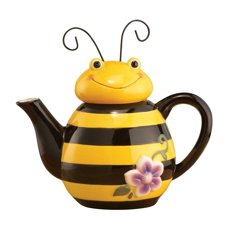 Amazon.com   Bee Shaped Ceramic Kitchen Teapot, Yellow: Teapots
