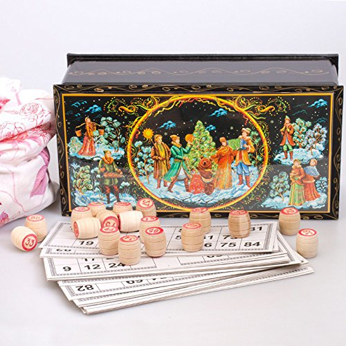 Russian Bingo Set w/ New Year w/ a Bear Gift Russian Loto by Narodnye Promysly