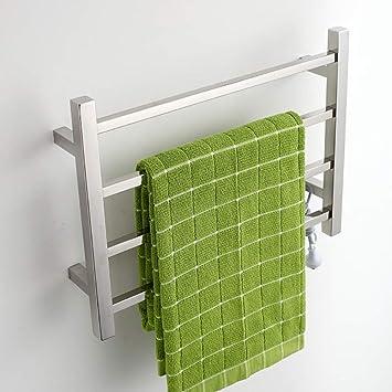 HL Toallero eléctrico, termostático baño eléctrico Cromado Curvado Calentamiento calefacción radiador toallero Calentador, baño de Secado Rack Acero ...