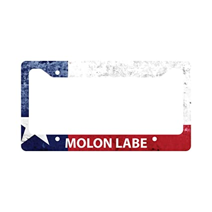 Amazon.com: Molon Labe Texas Flag License Plate Frame 2nd Amendment ...