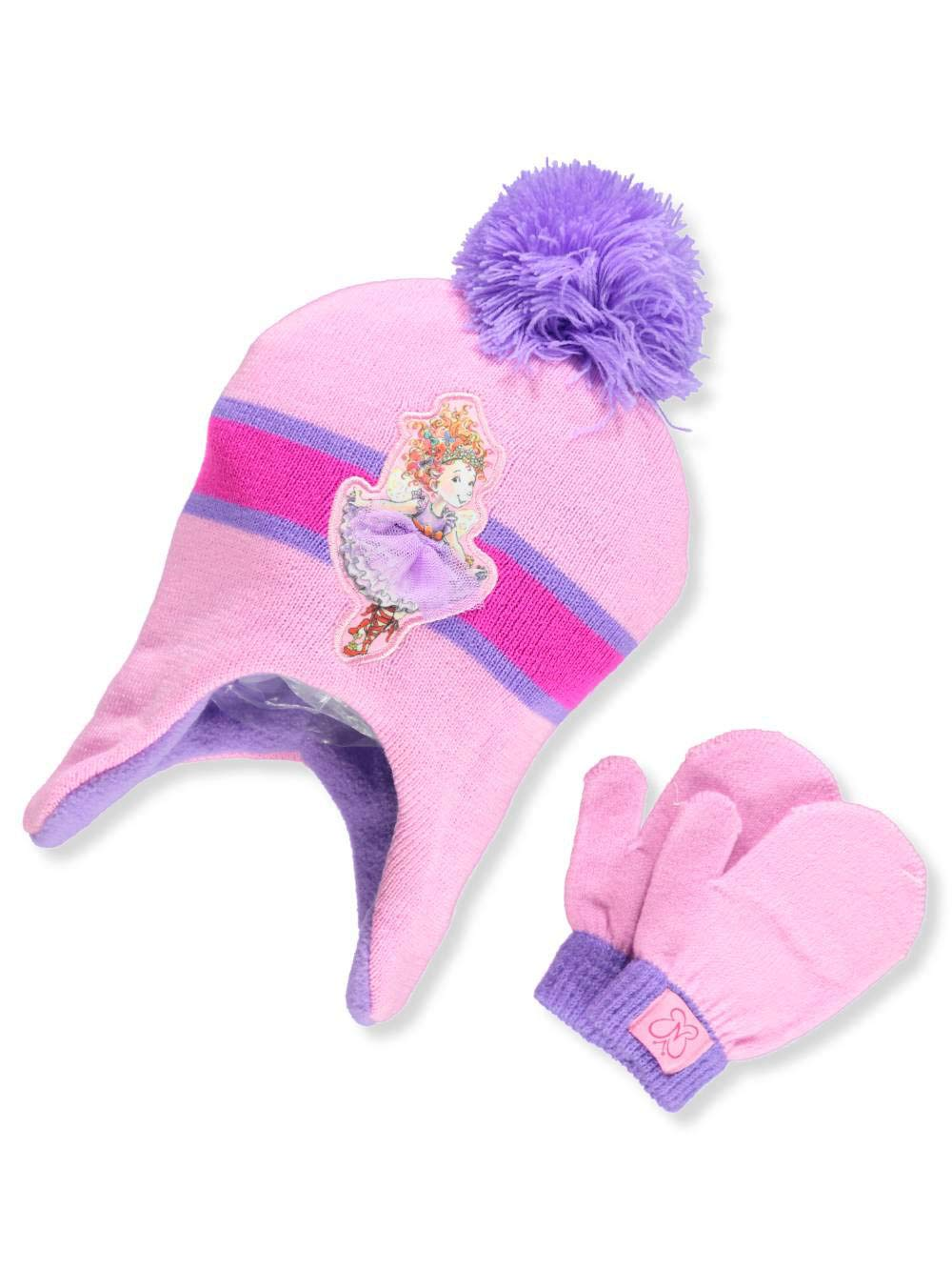 Fancy Nancy Big Girls' Beanie & Mittens Set - pink/purple, one size Nickelodeon