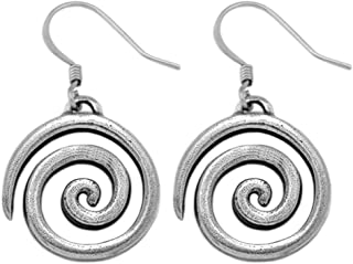 product image for DANFORTH - Spiral Earrings - 3/4 Inch - Pewter - Handcrafted - Surgical Steel Wires - Made in USA