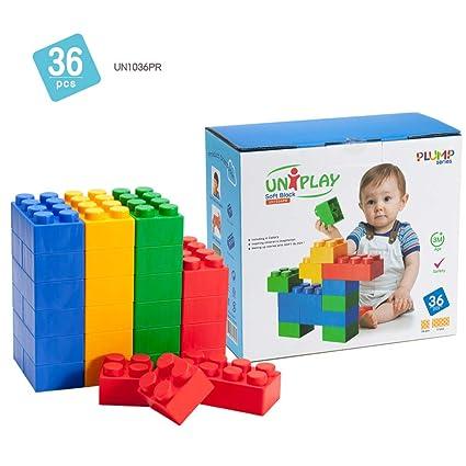 UNiPLAY Antibacterial Jumbo Soft Building Blocks Plump Series Multi colors  36pcs