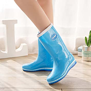 1907e41de4b920 DACHUI Spring Fashion Rain Boots Ms. Adult Student High Waterproof Shoes  Plus Velvet Boots Anti
