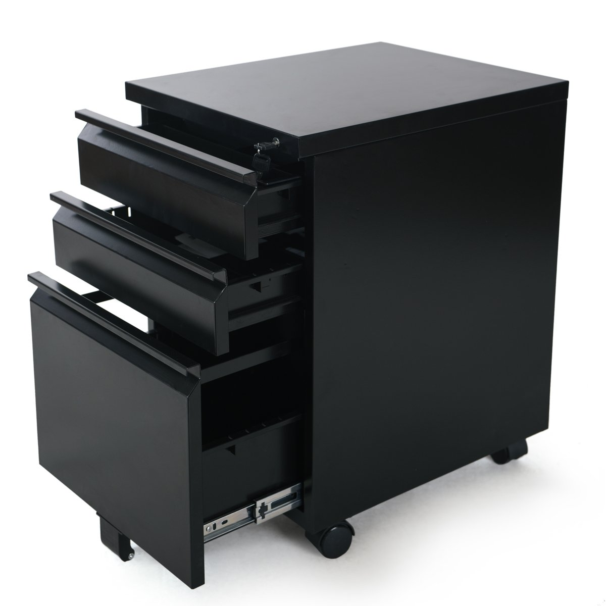Amazon.com : DEVAISE 3 Drawer Mobile File Cabinet With Lock, Black : Office  Products