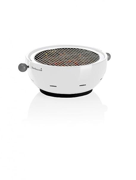Barbecook Amica White - Barbacoa (Barbacoa, Carbón vegetal, 30 cm, Mesa,