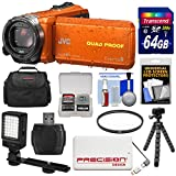 JVC Everio GZ-R440 Quad Proof Full HD Digital Video Camera Camcorder (Orange) with 64GB Card + Power Bank + Case + Tripod + Filter + LED Light Kit