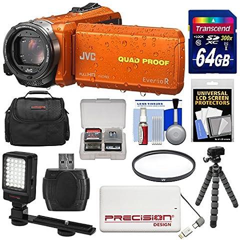 JVC Everio GZ-R440 Quad Proof Full HD Digital Video Camera Camcorder (Orange) with 64GB Card + Power Bank + Case + Tripod + Filter + LED Light (Jvc Everio Sd Card)