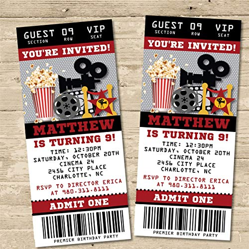 Movie Birthday Party Ticket Invitations - Movie Birthday Invitations ()