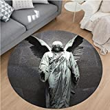 Nalahome Modern Flannel Microfiber Non-Slip Machine Washable Round Area Rug-ture of an Angel with Dark Background Catholic Belief Century Old Artwork Pattern Dimgrey area rugs Home Decor-Round 79''