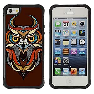 Hybrid Anti-Shock Defend Case for Apple iPhone 5 5S / Awesome Owl Tattoo Art