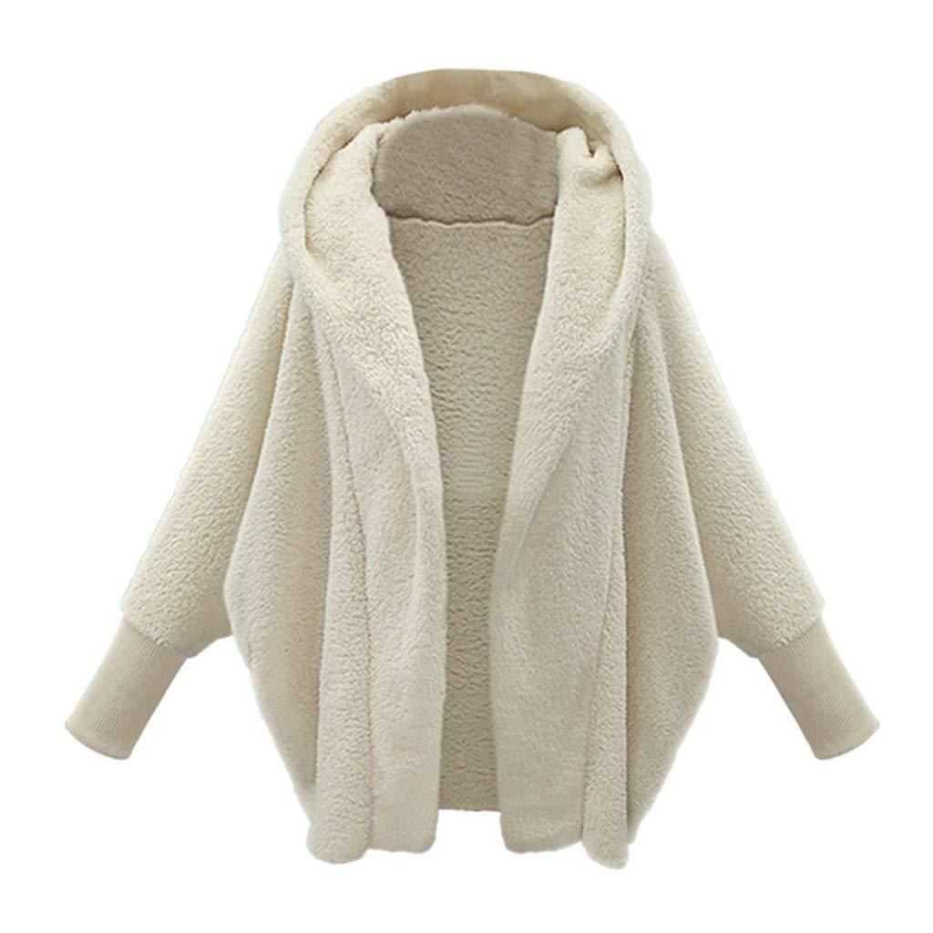 Fashionhe Women's Plush Overcoat Casual Fashion Outercoat Jacket Winter Warm Parka Outwear Coat (White.XXL)
