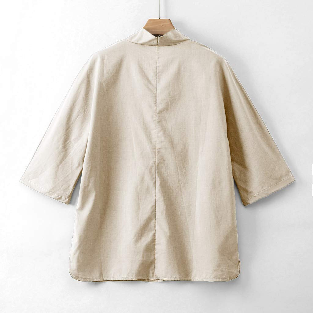Men Linen Shirt Patchwork Seven Minute Sleeve Solid Loose V Neck Comfortable Classic T Shirt (M, Beige) by Pafei Men's shirts (Image #5)