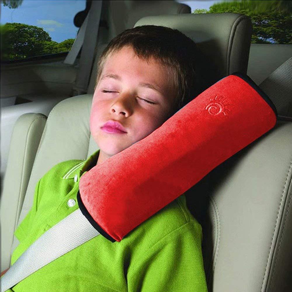 Rose BByu Coussin Oreiller de s/écurit/é Automobile pour les enfants Sangle Epaule Sommeil