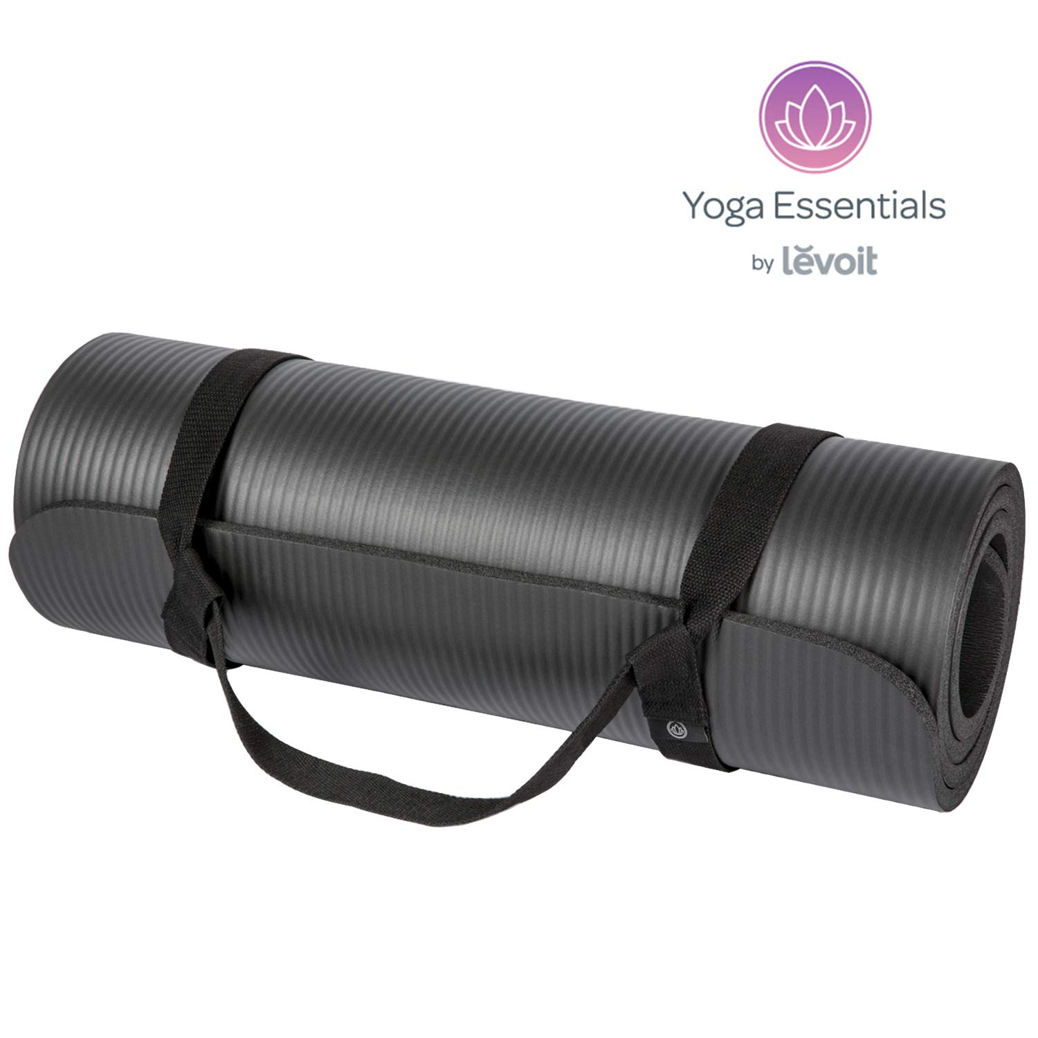 LEVOIT Yoga Exercise Mat, 1/2-Inch Extra Thick Workout Black Mats for Pilates and Fitness, High Density Anti-Tear Non-Slip Comfort NBR Foam with Carrying Strap