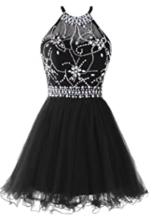 8afee84ee62e ALAGIRLS Short Beading Prom Dress Tulle Homecoming Dress Hollow Back ...