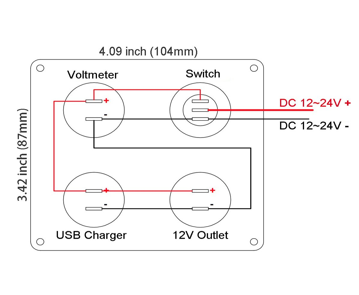 Voltmeter Usb Port Switch Rv Wiring Diagram Free Download Schematic Cllena Dual Socket Charger 2 1a2 1a Led 12v Power Time Delay